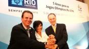 Eduardo Paes, prefeito do Rio, dá posse a Maria Silvia Bastos Marques na EOM, junto com Carlos Arthur Nuzman, presidente do Rio 2016