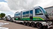 Primeiros vagões do VLT chegaram em Cuiabá em novembro do ano passado. Foto: Edson Rodrigues/Secopa-MT